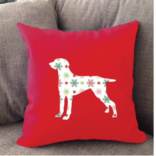 Righteous Hound - Red Holiday Weimaraner Pillow