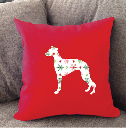 Righteous Hound - Red Holiday Whippet Pillow