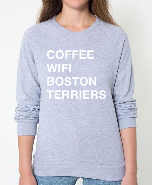 Boston Terrier Coffee Wifi Sweatshirt