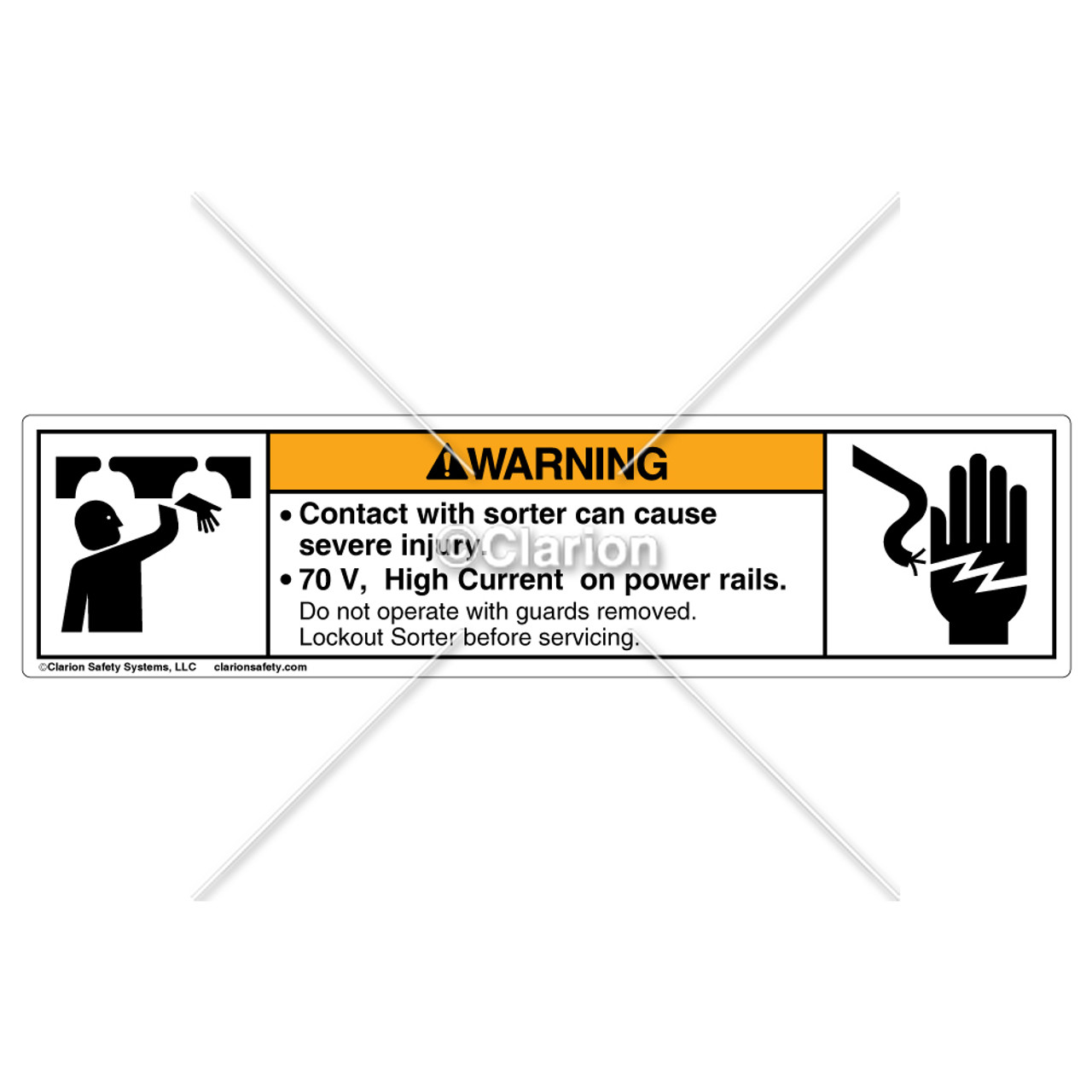 warning contact with sorter 8195 03whp w6 label