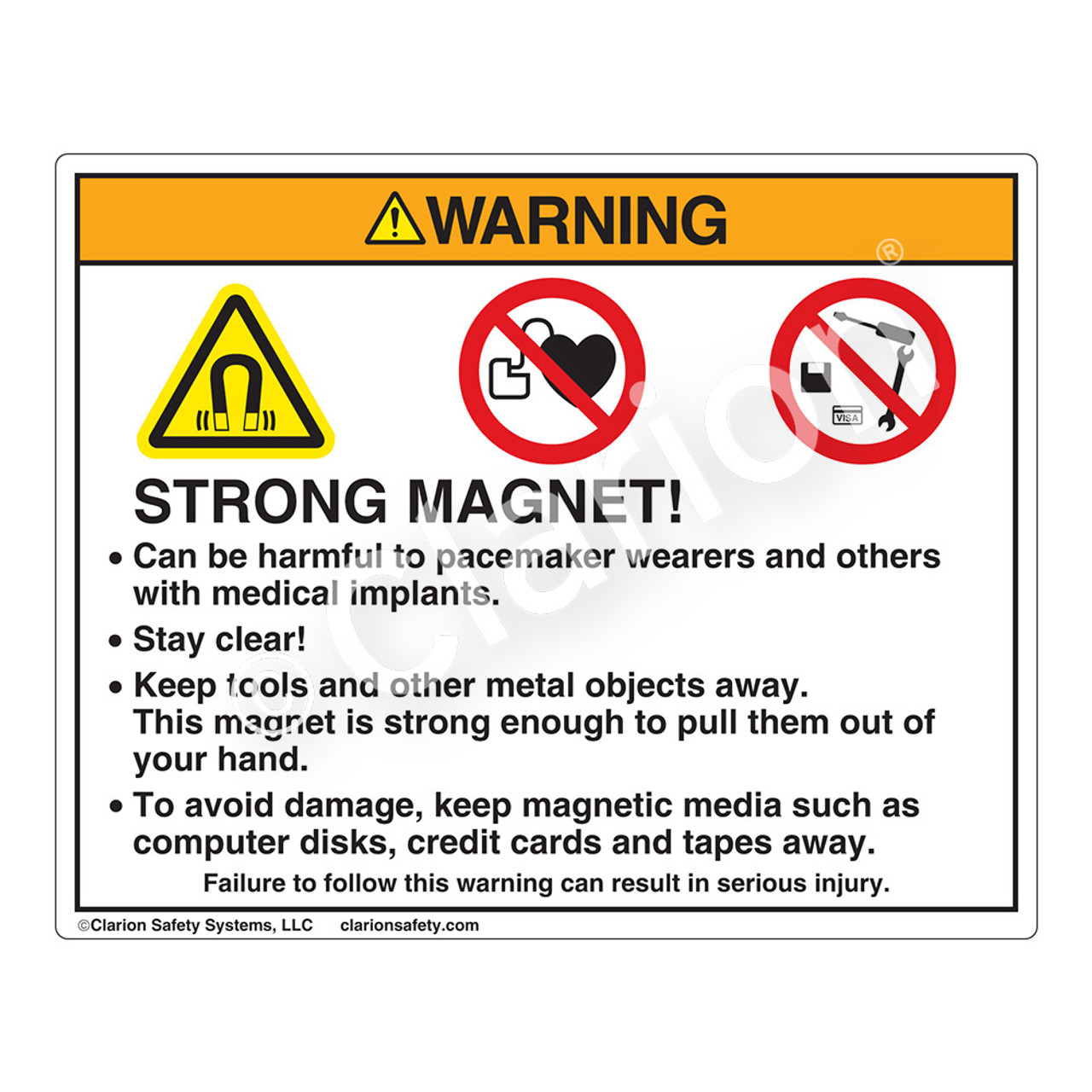 Warning/Strong Magnet (HMS-J73WH-) | Clarion Safety ...