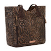 American West Annie's Secret Collection Convertible Zip Top Bucket Tote Charcoal and Chestnut Brown Leather