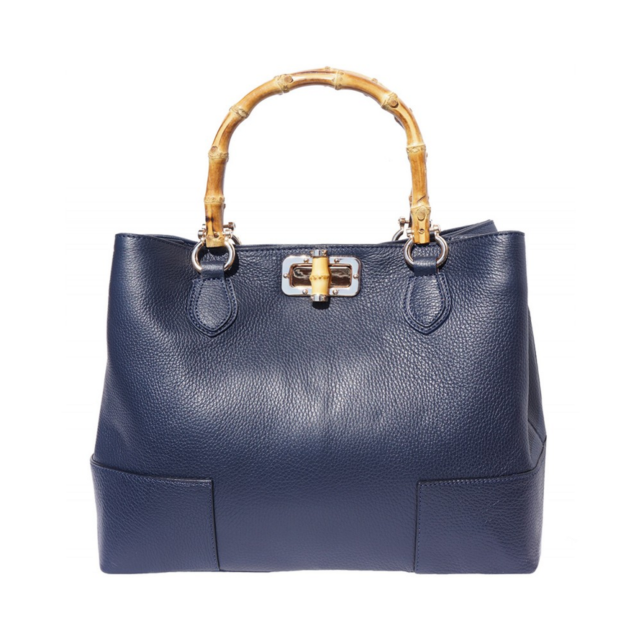 Italian Leather Collection Fabrizia Pebbled Handbag Bamboo Handles