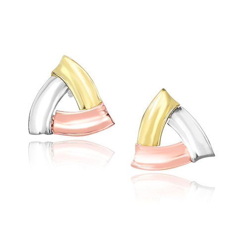 Triangle Shape Earrings with Curved Sides in 14K Tri-Color Gold