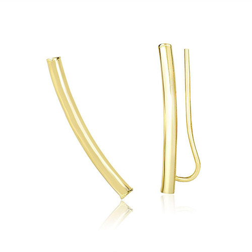14K Yellow Gold Curved Tube Polished Earrings