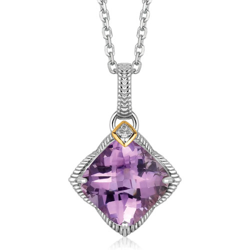 18K Yellow Gold and Sterling Silver Amethyst Pendant with Diamond Accents
