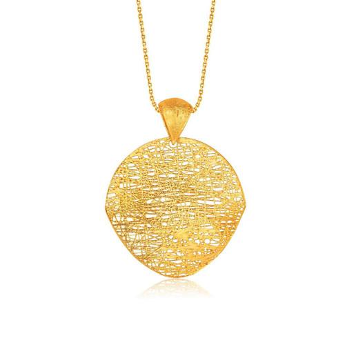 Italian Design 14K Yellow Gold Woven Artistic Pendant