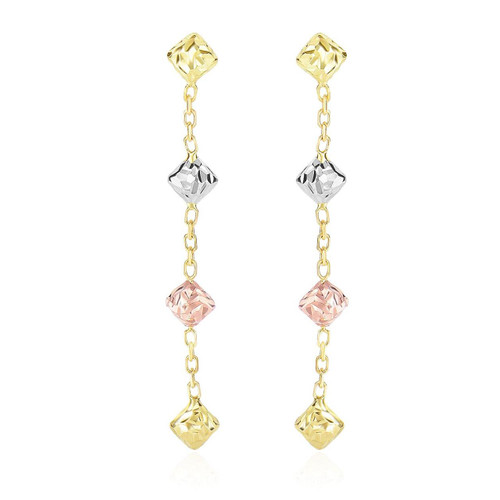 14K Tri-Color Gold Diamond Shape with Diamond Cuts Chain Dangling Earrings
