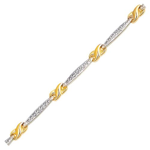 14K Two-Tone Gold Fancy Infinity Knot Line Bracelet