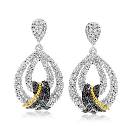 18K Yellow Gold & Sterling Silver Popcorn Teardrop Black Diamond Earrings