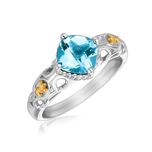 18K Yellow Gold and Sterling Silver Blue Topaz Ring with Fleur De Lis Accents