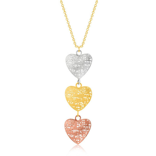 14K Tri-Color Gold Mesh Wire Heart Chain Dangling Pendant