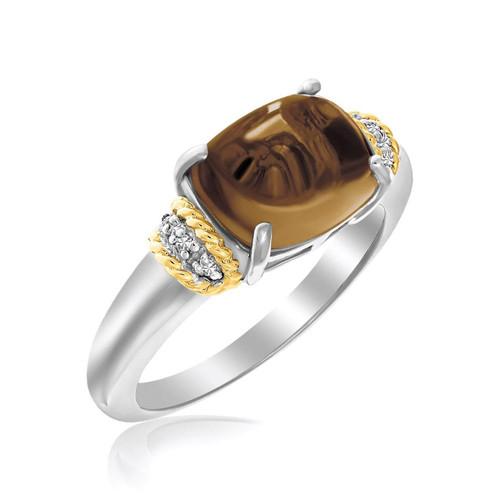 18K Yellow Gold & Sterling Silver Polished Oval Smokey Quartz Ring
