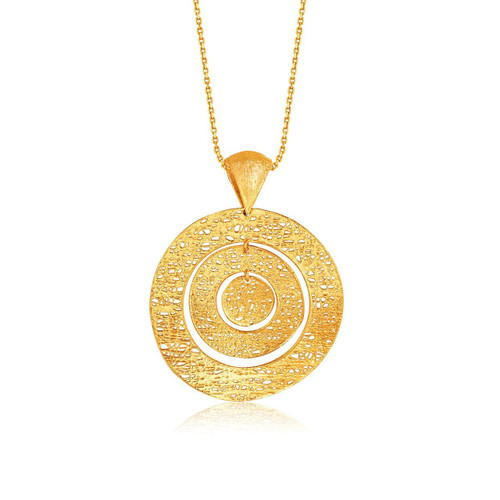 Italian Design 14K Yellow Gold Woven Concentric Circle Pendant