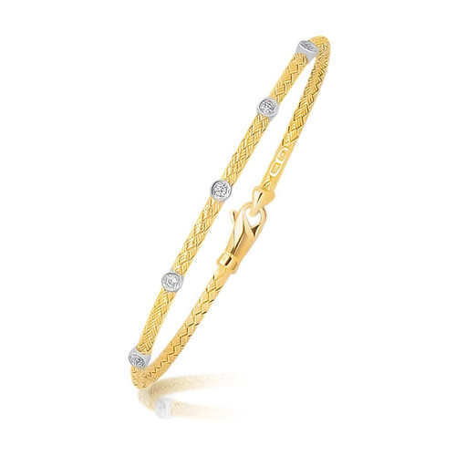 14K Two Tone Gold Diamond Accent Station Basket Weave Bracelet