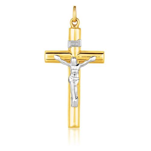 14K Two Tone Gold Cross Pendant