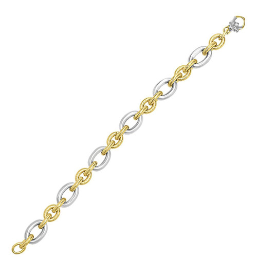14K Two-Tone Gold Oval Link Bracelet with Textured and Smooth Links