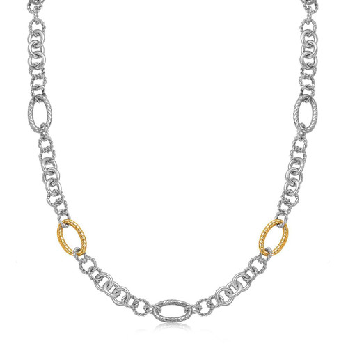 18K Yellow Gold and Sterling Silver Rhodium Plated Multi Design Chain Necklace - 67768-38