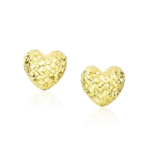 14K Yellow Gold Puffed Heart Earrings with Diamond Cuts