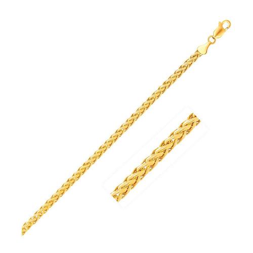 2.7mm 14K Yellow Gold Diamond Cut Round Franco Chain