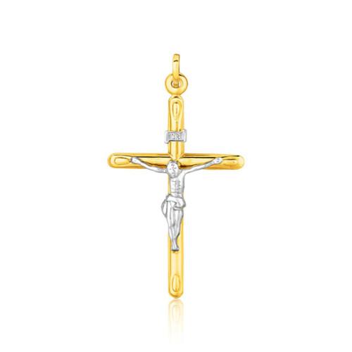 14K Two Tone Gold Cross Pendant - 64053