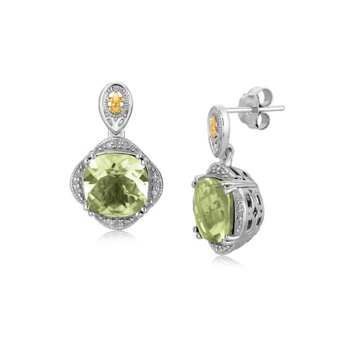 Sterling Silver Green Amethyst and Diamond Earrings 18K Yellow Gold Accents