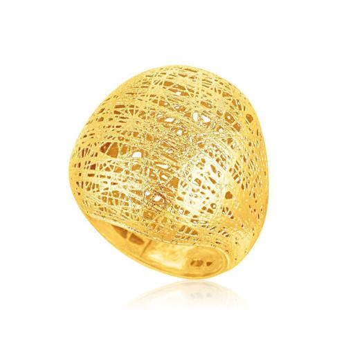 Italian Design 14K Yellow Gold Woven Bombe Dome Ring