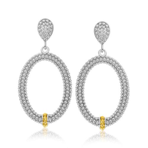 18K Yellow Gold & Sterling Silver Open Oval Motif Popcorn Earrings