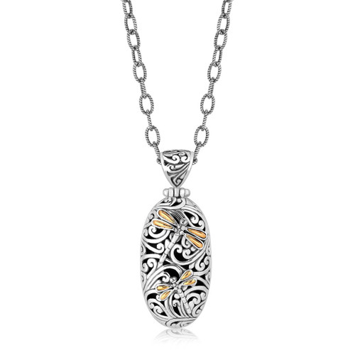 18K Yellow Gold and Sterling Silver Oval Pendant with Dragonfly Accents