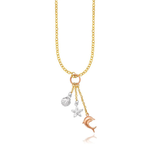 14K Tri-Color Gold Sea Life Drop Pendant Necklace
