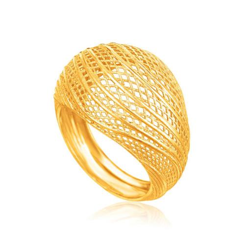 Italian Design 14K Yellow Gold Lattice Ring