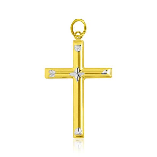 14k Two-Tone Gold Diamond Cut Fancy Cross Pendant