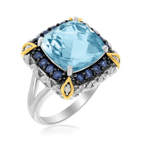18K Yellow Gold & Sterling Silver Square Blue Topaz and Blue Sapphire Ring