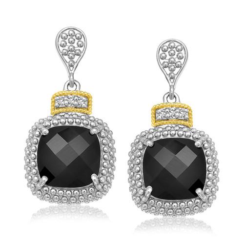 18K Yellow Gold & Sterling Silver Black Onyx & Diamond Earrings (.05ct tw)