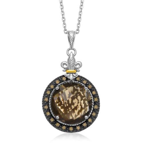 18K Yellow Gold & Sterling Silver Smokey Quartz and Coffee Diamond Round Pendant
