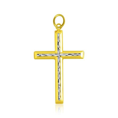 14K Two-Tone Gold Fancy Diamond Cut Crucifix Pendant