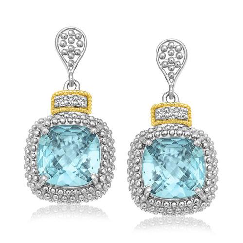 18K Yellow Gold & Sterling Silver Sky Blue Topaz & Diamond Earrings (.05ct tw)