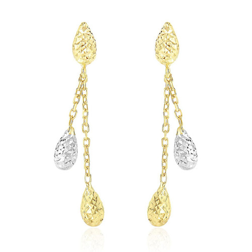 14K Two-Tone Gold Double Row Chain Earrings with Diamond Cut Teardrops