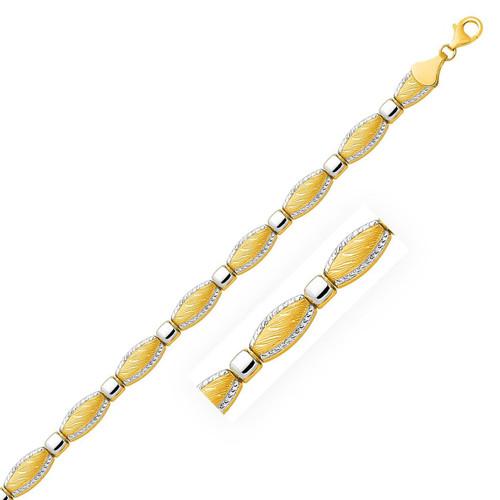 14K Two-Tone Gold Textured Curved Bar Link Bracelet