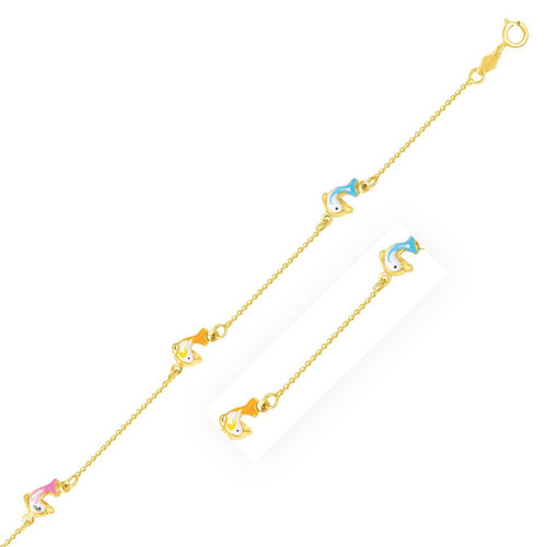 14K Yellow Gold Children's Bracelet with Dolphin Stations