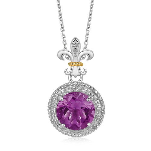 18K Yellow Gold and Sterling Silver Amethyst and Diamonds Fleur De Lis Pendant