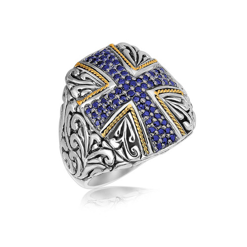 18K Yellow Gold and Sterling Silver Blue Sapphire Cross Embellished Ring