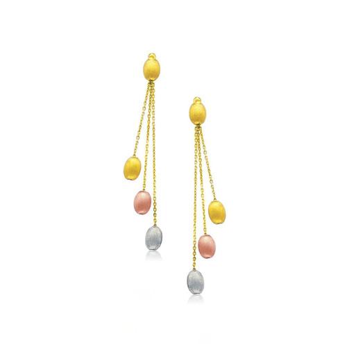 14K Tri-Color Gold Multi Chain Pebble Motif Dangling Earrings