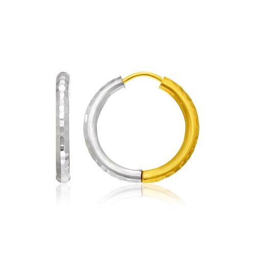 14K Two-Tone Gold Hinge Hammered Hoop Earrings