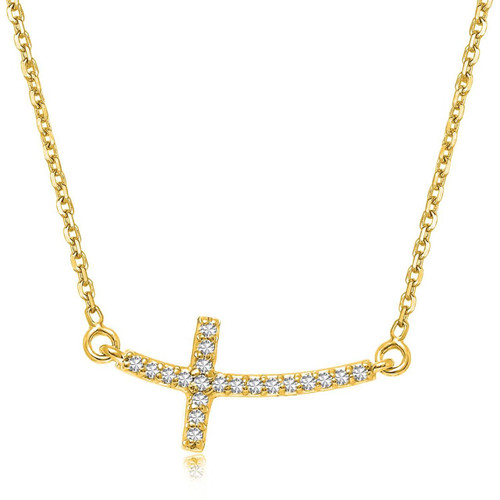 14K Yellow Gold Diamond Accented Curved Cross Necklace (.11ct tw)