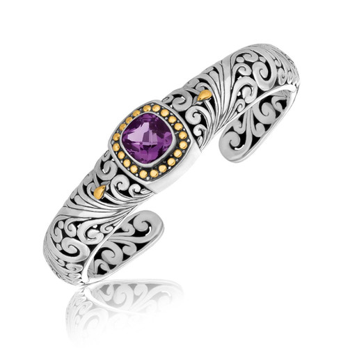 Sterling Silver Womens Baroque Style Cuff Bangle with Cushion Amethyst