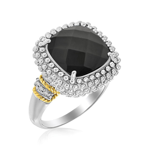 18K Yellow Gold & Sterling Silver Black Onyx and Diamond Popcorn Cushion Ring