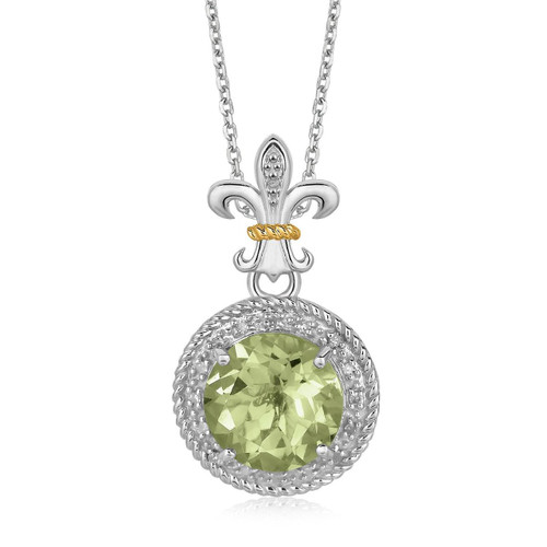18K Yellow Gold and Sterling Silver Green Amethyst and Diamonds Pendant
