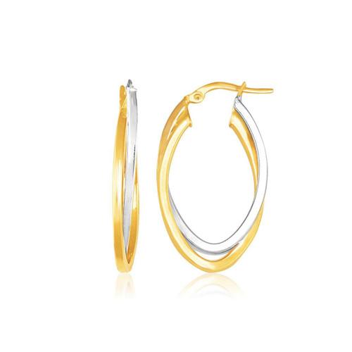 14K Two Tone Gold Double Oval Hoop Earrings