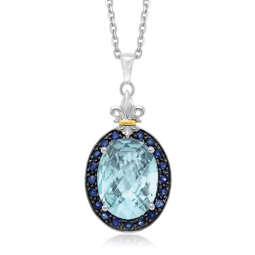 18K Yellow Gold & Sterling Silver Oval Blue Topaz Fleur De Lis Pendant..